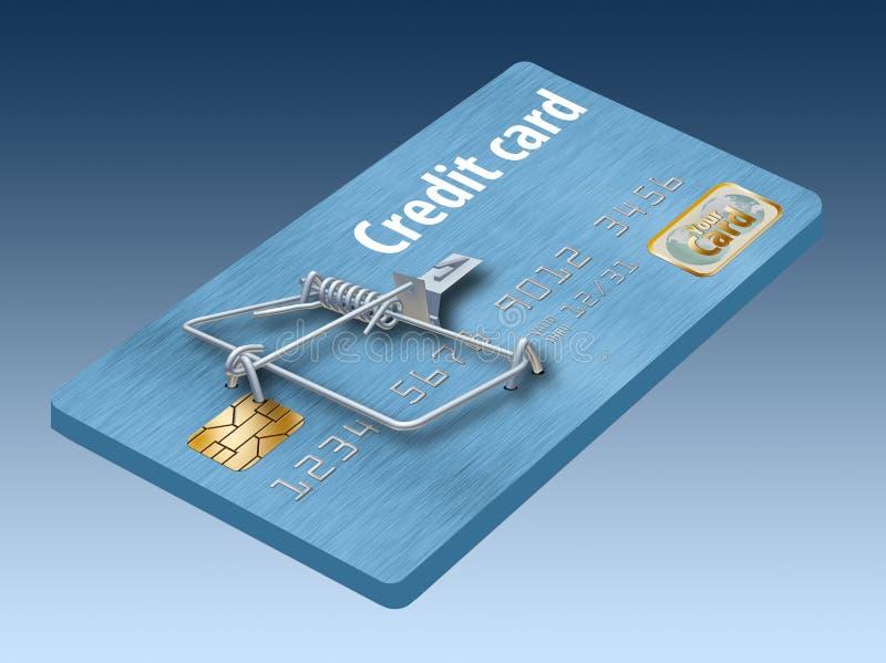 Undvik kreditkortfällor, som denna som ser som en kreditkort som vänds in i en råttfälla royaltyfri illustrationer