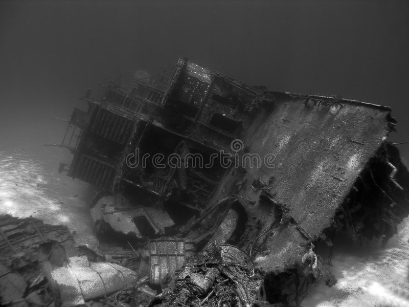 Undwerwater Shipwreck in Black and White. Black and White shot of an Underwater Shipwreck royalty free stock photos