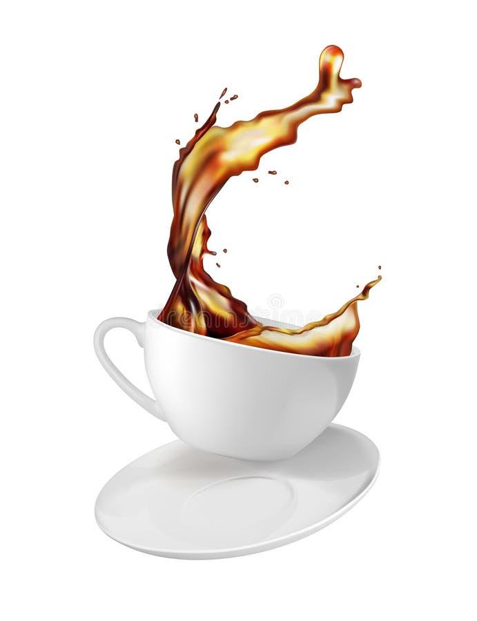 Une éclaboussure de thé dans le mouvement Tasse et soucoupe blanche illustration de vecteur
