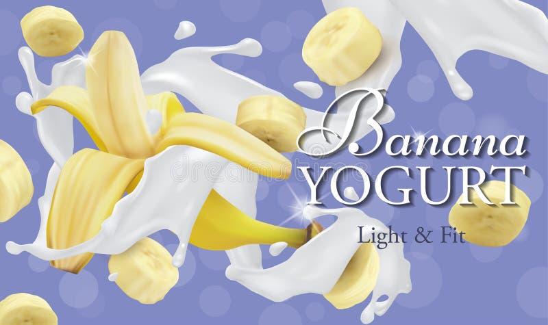Une éclaboussure de yaourt avec la totalité et tranches de banane illustration stock