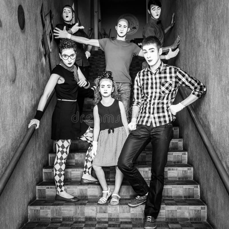 une équipe de pantomimes a photographié par un atterrissage photographie stock libre de droits