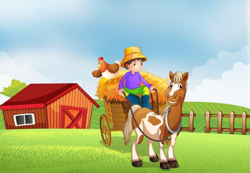 Une équitation d'agriculteur dans un chariot illustration stock