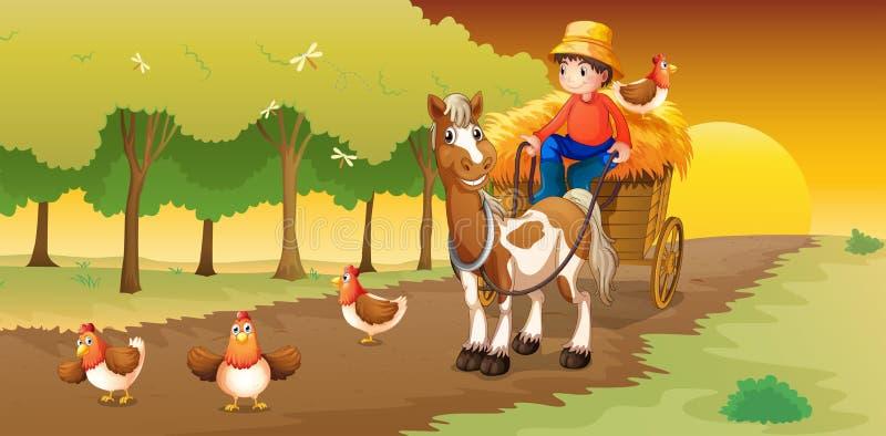 Une équitation d'homme dans son chariot allant à la ferme illustration libre de droits