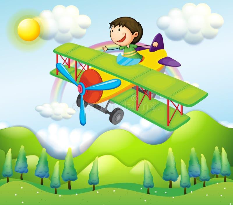 Une équitation de jeune homme dans un avion coloré illustration de vecteur