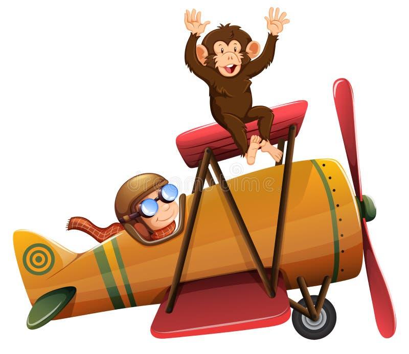 Une équitation pilote l'avion avec le singe illustration stock