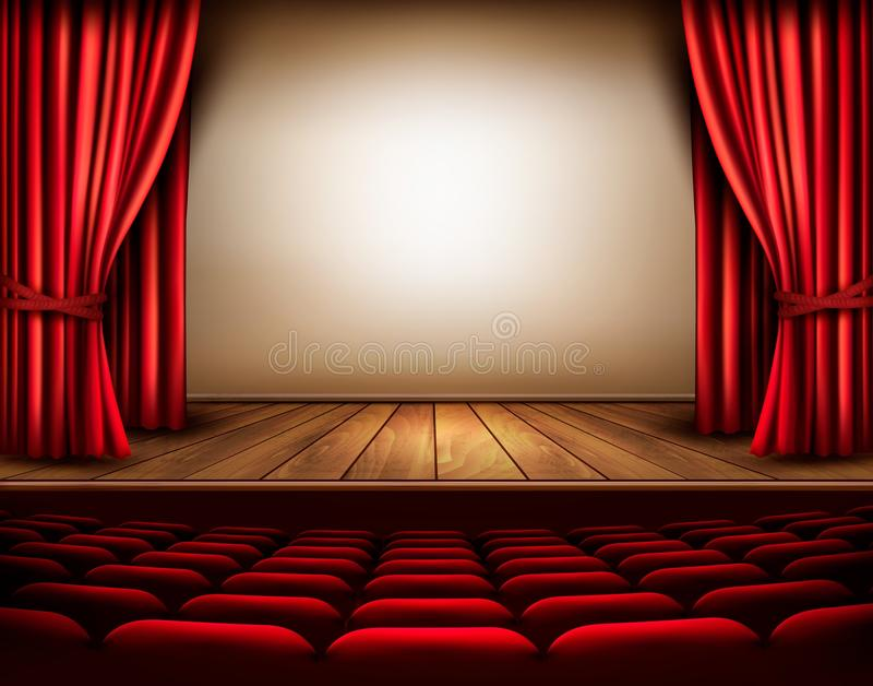 Une étape de théâtre avec un rideau rouge, sièges illustration libre de droits