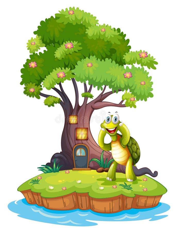 Une île avec un grand arbre et une tortue illustration libre de droits