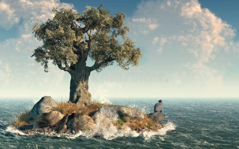 Une île d'arbre illustration stock