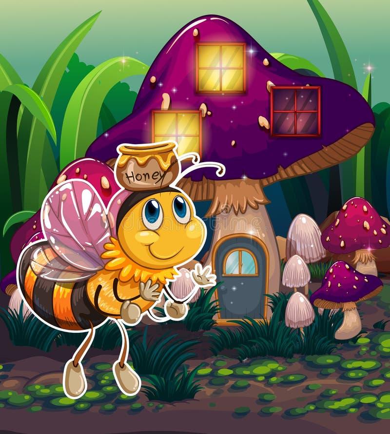 Une abeille de vol près de la maison enchantée de champignon illustration de vecteur