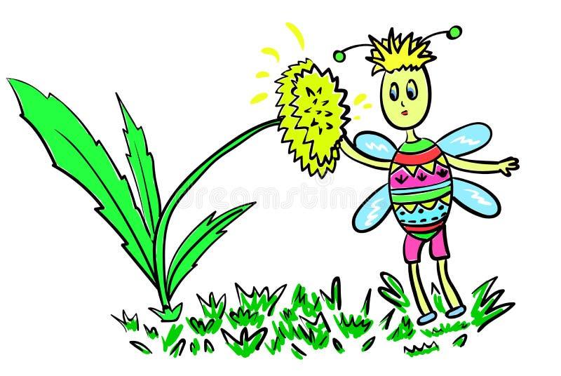 Une abeille mignonne colorée mange du nectar des fleurs dans une clairière illustration stock