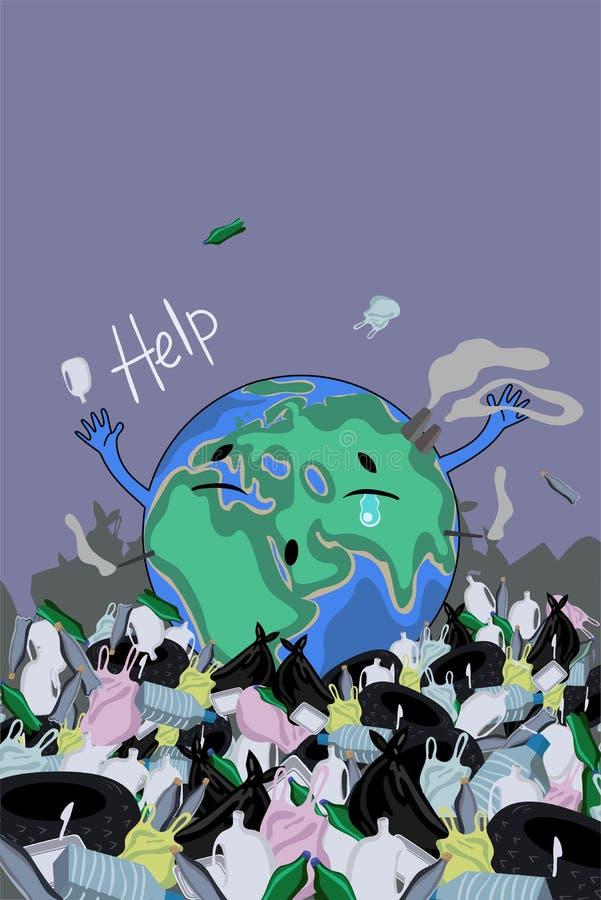 Une affiche avec la terre de plan?te parmi les d?chets Aide d'inscription Image de vecteur illustration stock