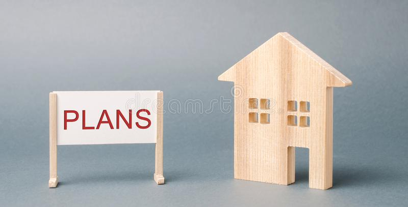 Une affiche avec les plans de mot et une maison en bois miniature Investissement de propri?t? Planification Logement de location  photographie stock