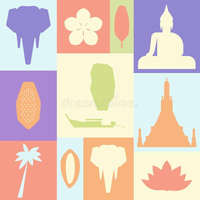 Une affiche avec les symboles de la Thaïlande illustration libre de droits