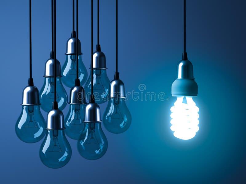 Une ampoule économiseuse d'énergie accrochante d'eco rougeoyant et se tenant des ampoules incandescentes non allumées illustration stock