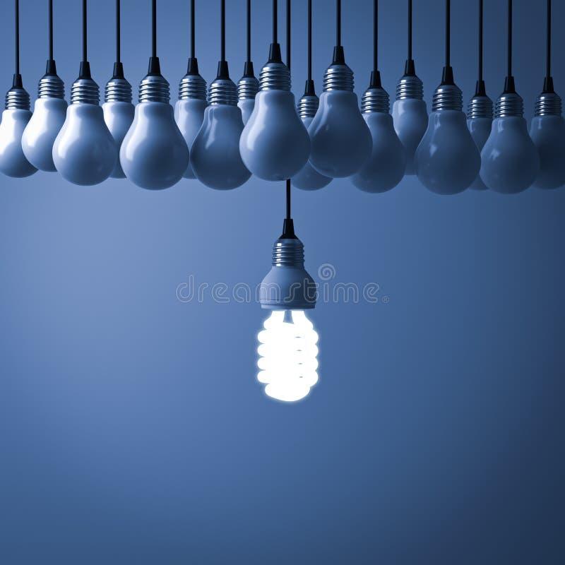 Une ampoule économiseuse d'énergie accrochante d'eco rougeoyant et se tenant des ampoules incandescentes non allumées sur le fond illustration de vecteur