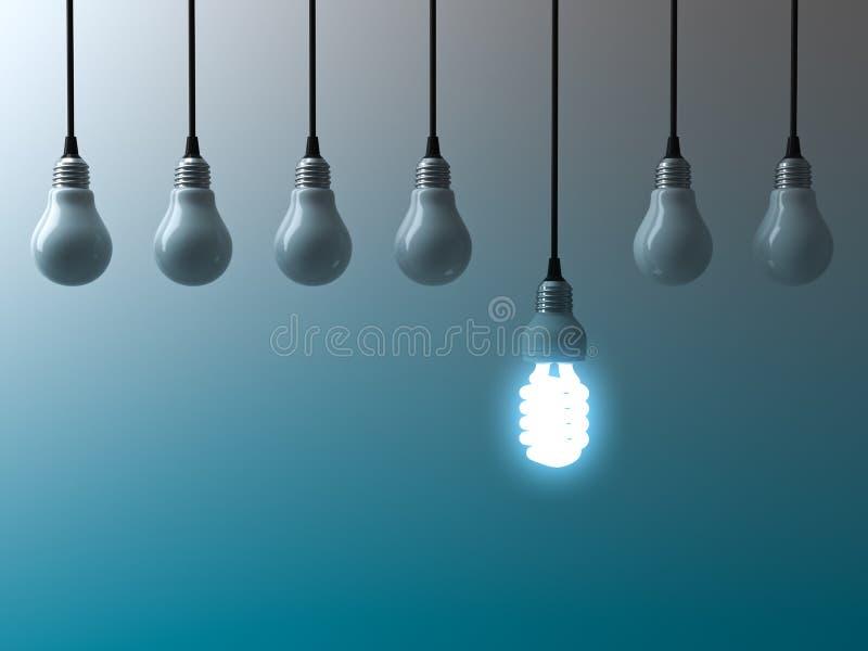 Une ampoule économiseuse d'énergie accrochante d'eco rougeoyant et se tenant des ampoules non allumées sur le fond bleu vert-fonc illustration stock