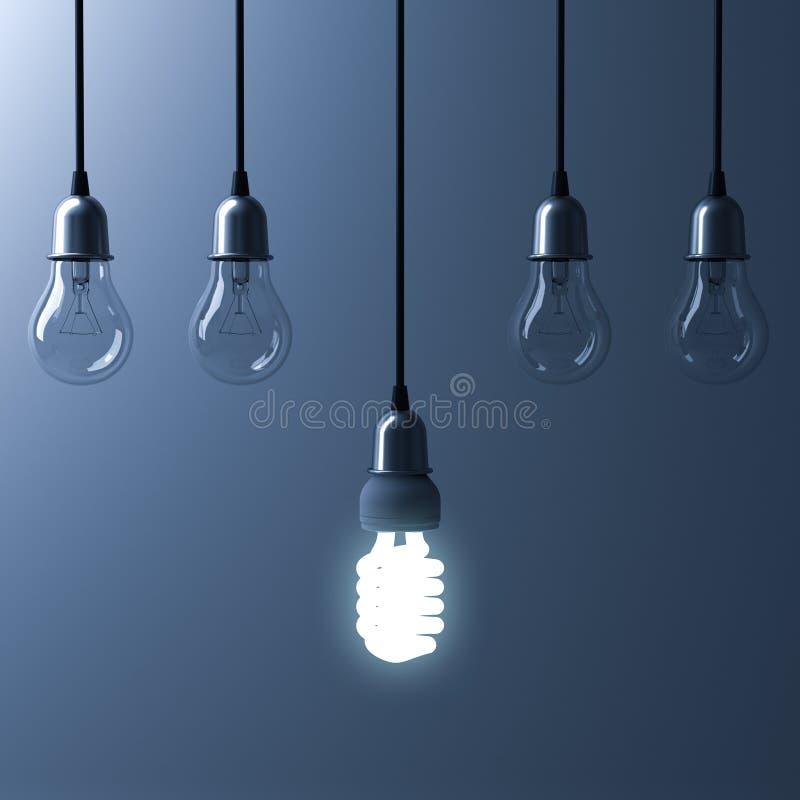 Une ampoule économiseuse d'énergie accrochante rougeoyant différente se tiennent des ampoules incandescentes non allumées illustration stock