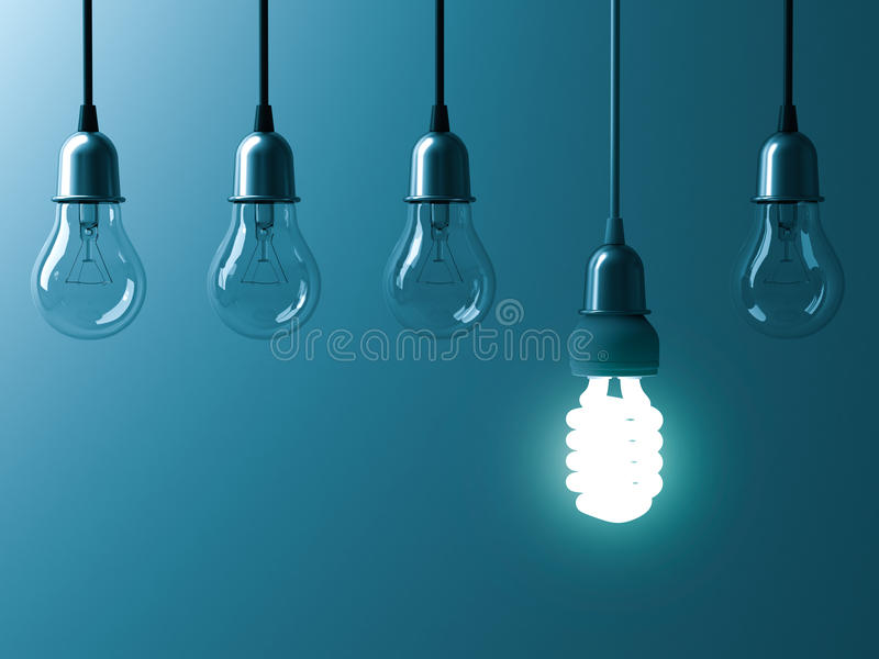 Une ampoule économiseuse d'énergie accrochante rougeoyant différente se tiennent des ampoules incandescentes non allumées avec la illustration de vecteur