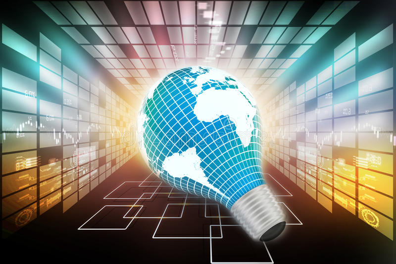 Une ampoule électrique avec une carte du monde illustration libre de droits