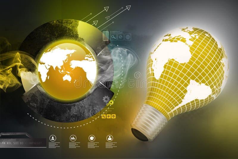 Une ampoule électrique avec une carte du monde illustration stock