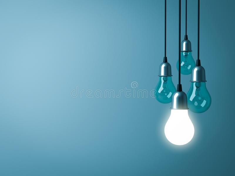 Une ampoule accrochante rougeoyant avec les ampoules incandescentes non allumées sur le fond vert-foncé de couleur en pastel illustration de vecteur