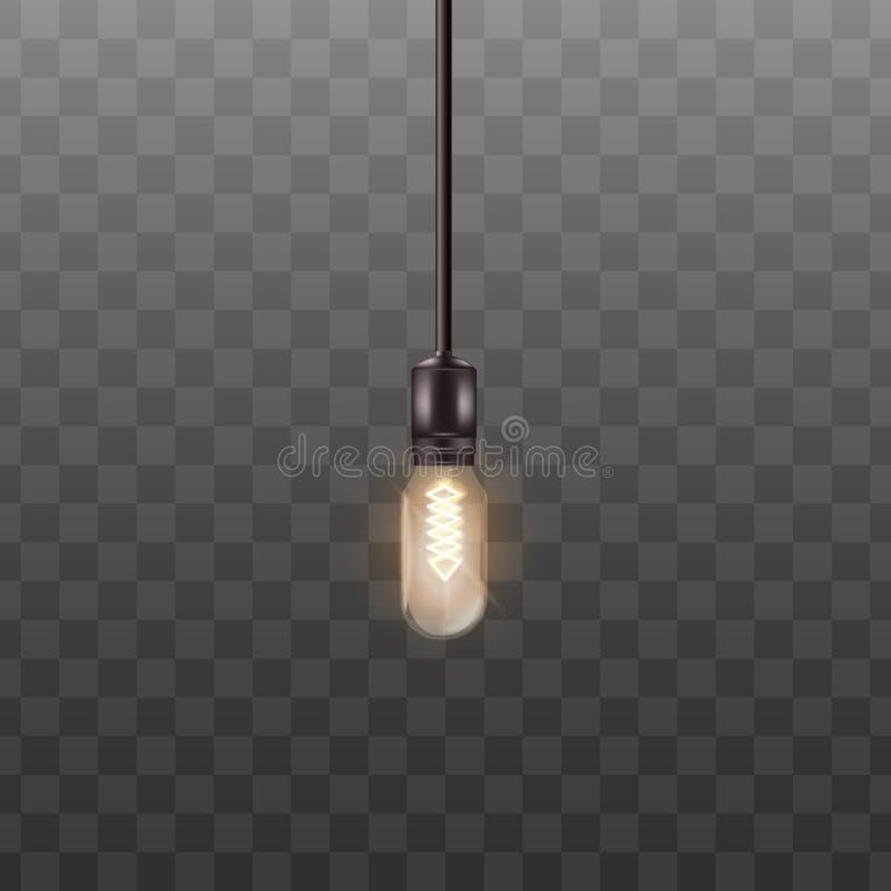 Une ampoule 3d accrochant sur le long fil dans le style réaliste illustration stock