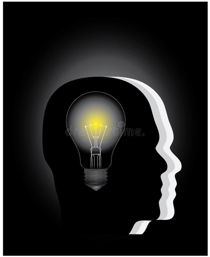 Une ampoule dans la tête illustration stock