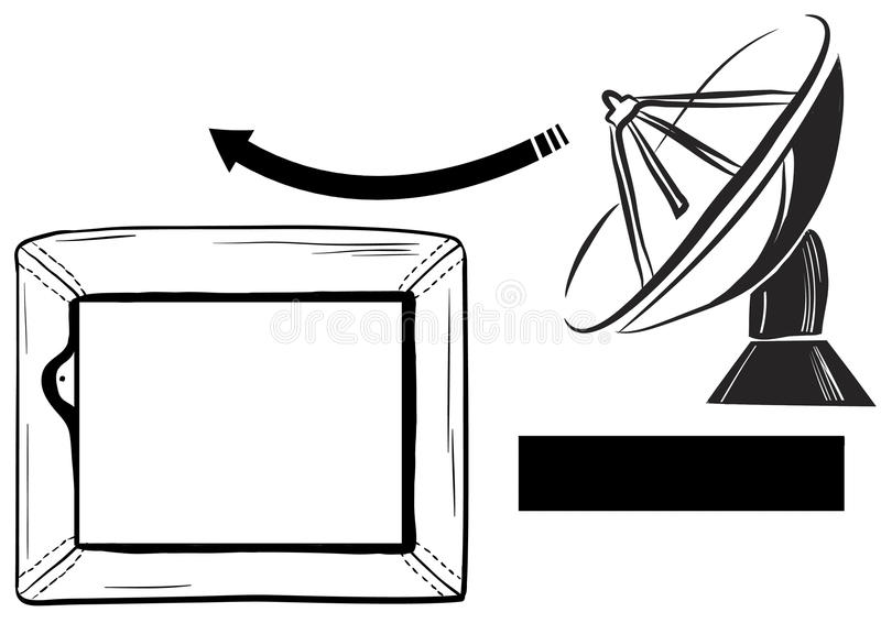 Une antenne parabolique de réception de TV et une TV photographie stock libre de droits