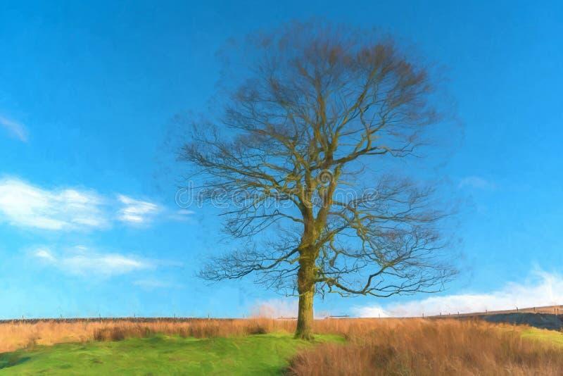 Une aquarelle numérique d'un arbre solitaire pendant l'automne sans des feuilles illustration libre de droits