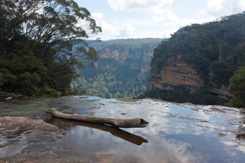 Une bûche dans l'eau au sommet des chutes Wentworth dans les Blue Mountains en Australie photos libres de droits