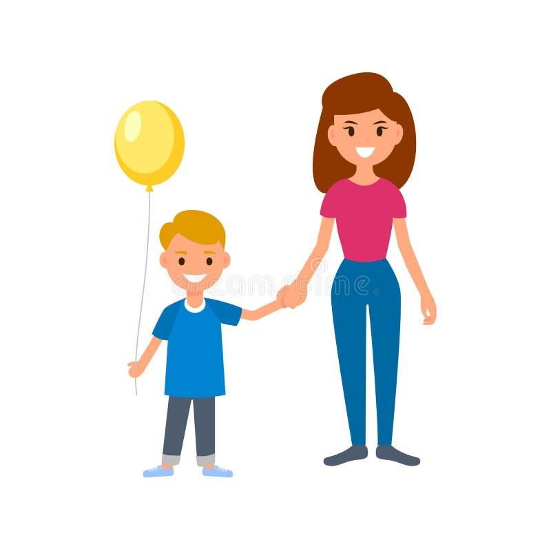 Une babysitter ou une bonne d'enfants tient l'enfant par la main pour une promenade Garçon retenant un ballon Illustration d'isol illustration de vecteur