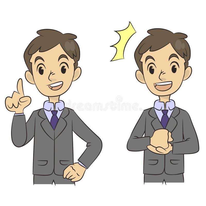 Une bande dessinée d'un jeune homme d'affaires présentant un exposé illustration de vecteur