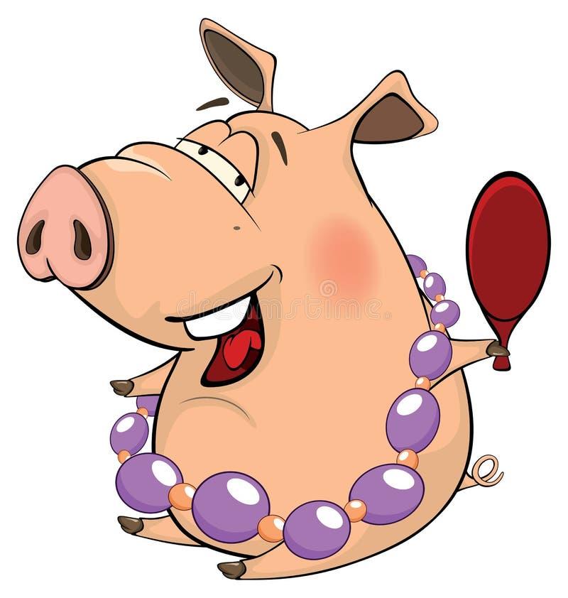 Une bande dessinée mignonne d'animal de ferme de porc illustration libre de droits
