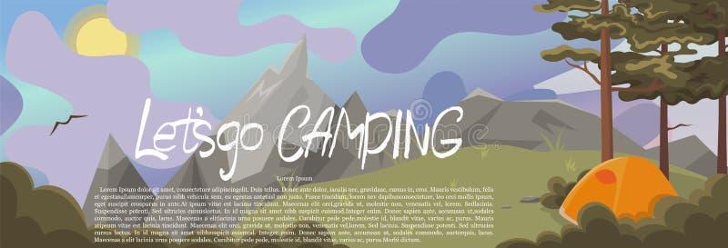 Une bannière avec un paysage naturel avec des pins et des montagnes Le lettrage a laissé s aller camper Dessins de vecteur illustration stock