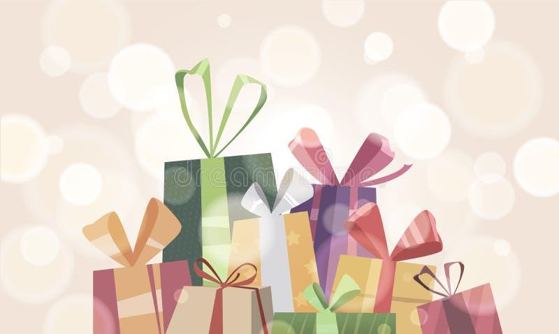 Une bannière de bannière avec une pile des boîtes avec des cadeaux illustration stock