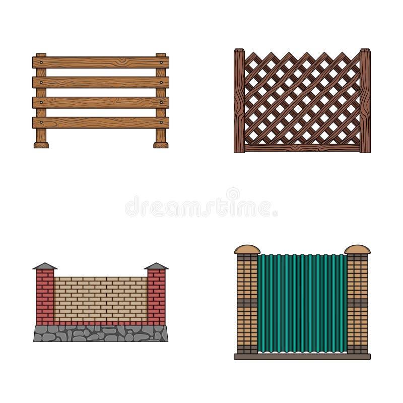 Une barrière de métal et de briques, palissade en bois Les icônes réglées d'une collection de barrière différente dans le style d illustration stock