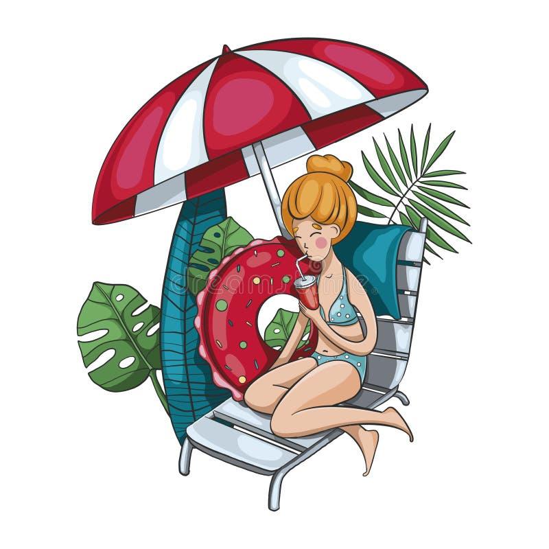 Une belle fille dans un maillot de bain se reposant sur un canapé du soleil sous un parapluie photos libres de droits