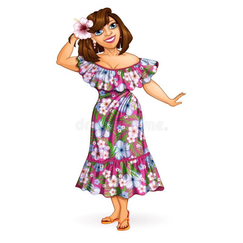 Une belle fille de touristes avec une fleur dans ses cheveux dans une robe hawaïenne de muumuu Vacances dans les ?les hawa?ennes illustration stock