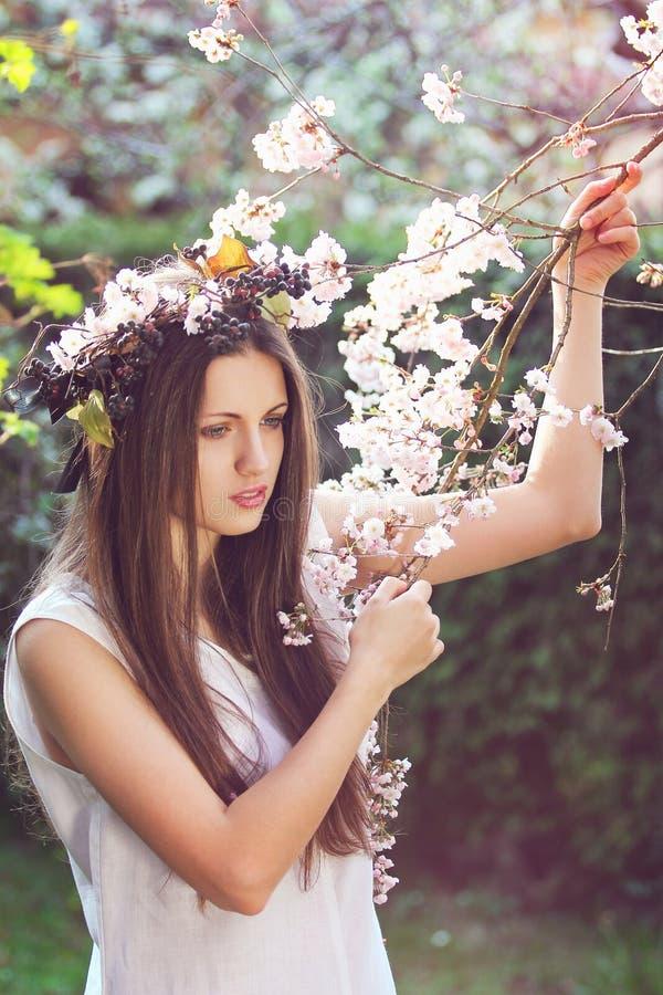 Une belle fille parmi des fleurs de cerise photo libre de droits
