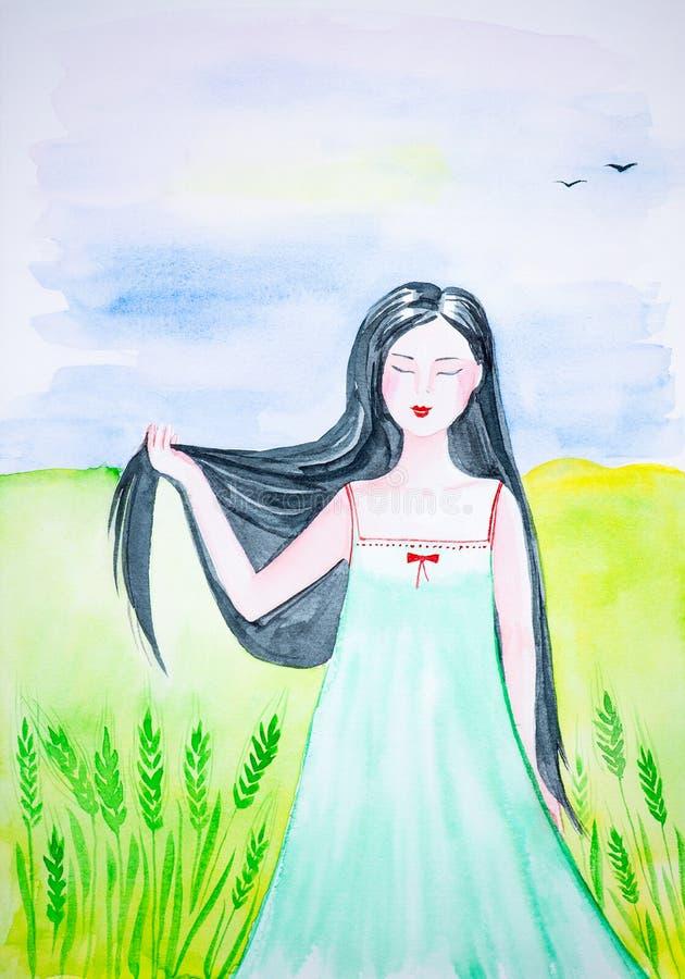 Une belle fille russe dans le domaine ouvert se tient avec ses yeux fermés et tient ses longs cheveux noirs dans le vent watercol illustration de vecteur