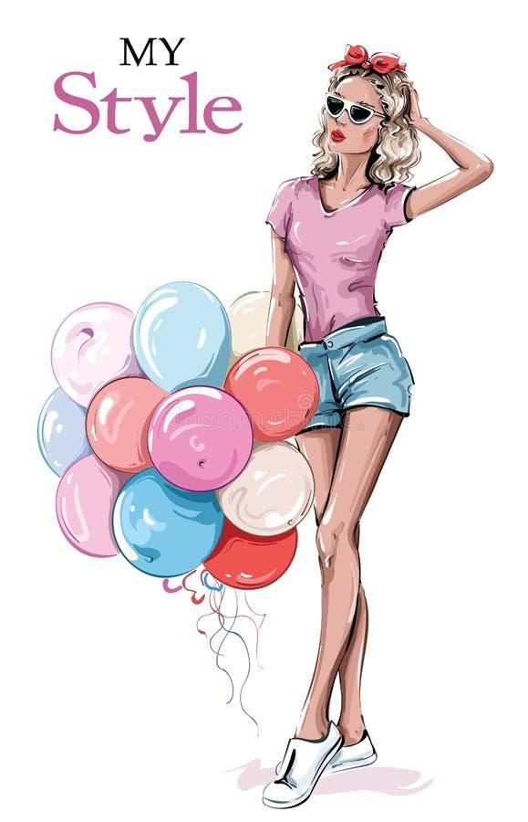 Une belle jeune femme en lunettes de soleil. Une fille élégante avec des ballons colorés. Mode femme. Dessin illustration stock