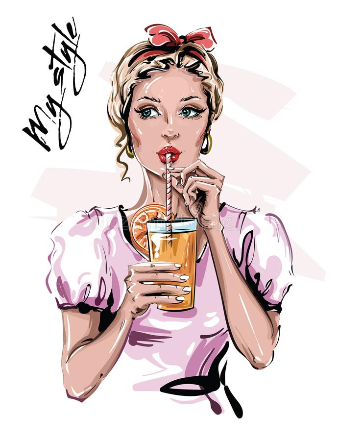 Une belle jeune femme tirée à la main avec un verre Élégante petite fille avec accessoire de tête Mode femme Dessin illustration libre de droits