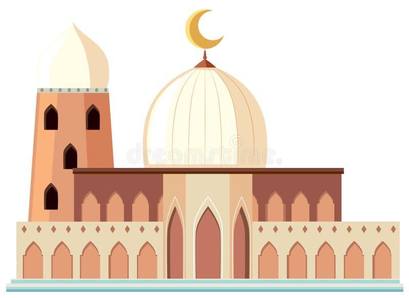 Une belle mosquée blanche sur le fond blanc illustration de vecteur