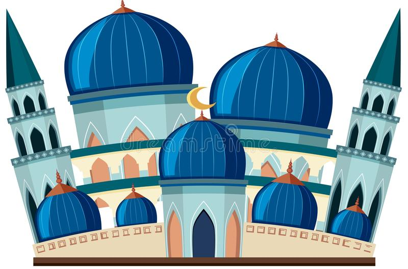 Une belle mosquée bleue sur le fond blanc illustration libre de droits