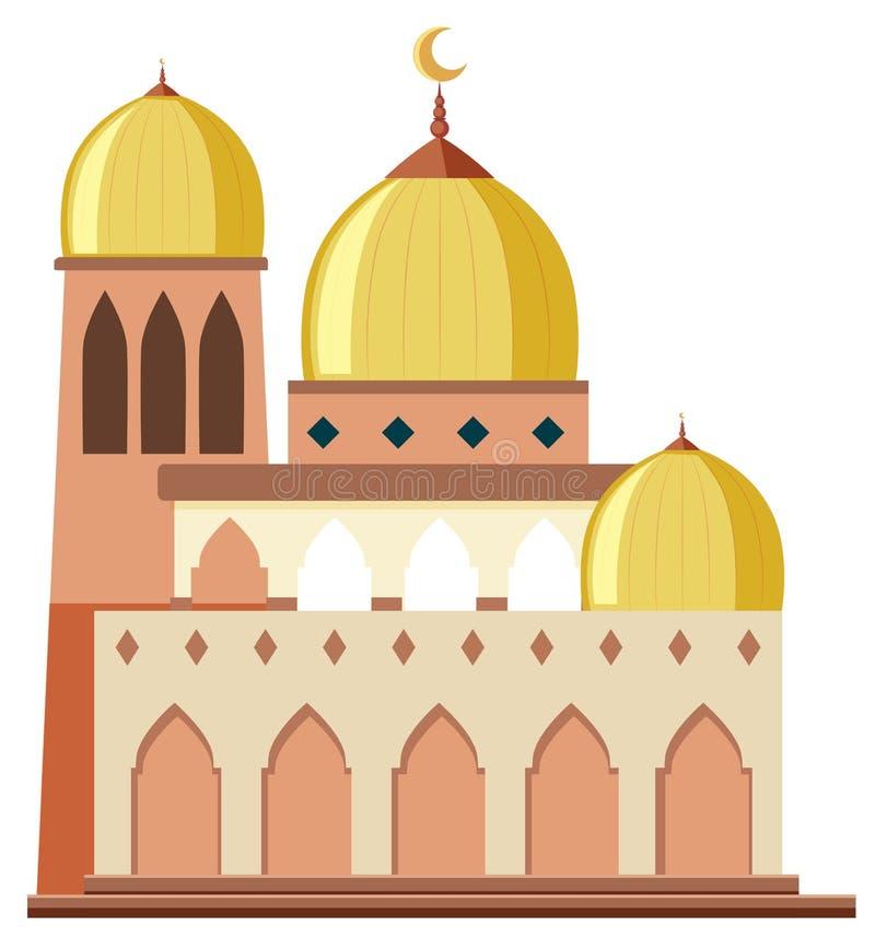 Une belle mosquée sur le fond blanc illustration de vecteur