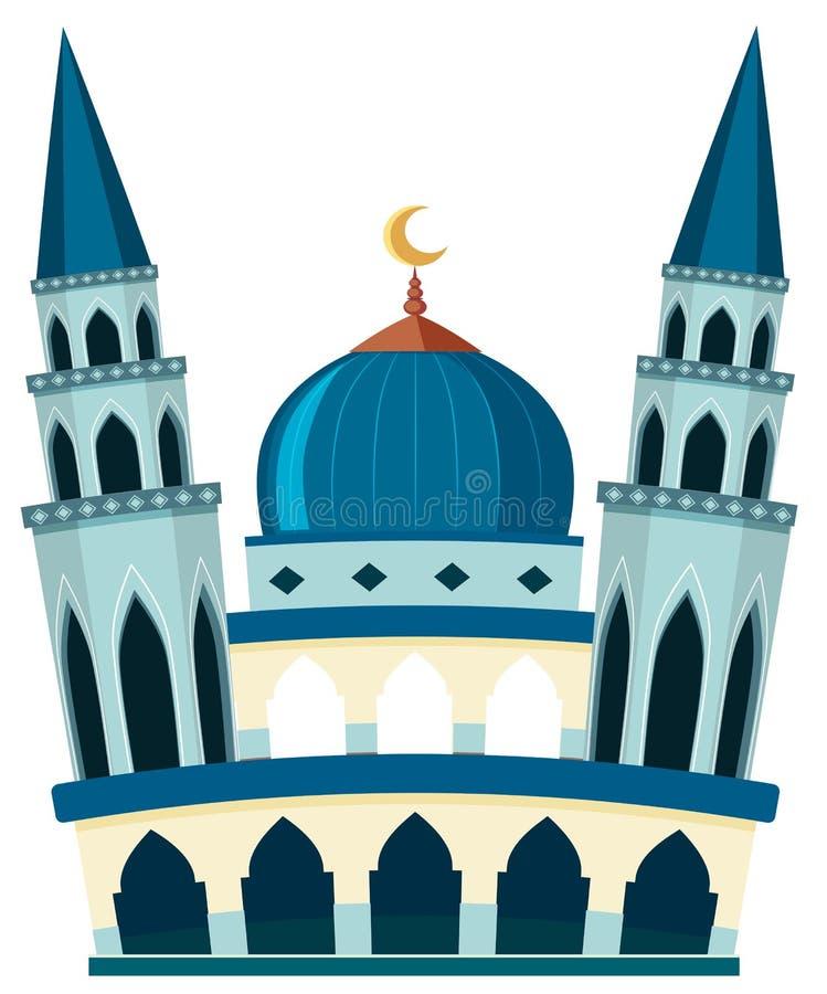 Une belle mosquée sur le fond blanc illustration libre de droits