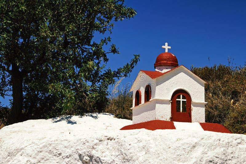 Une belle reproduction à échelle réduite comme une église et pour l'éclairage de bougie en île de Kos image libre de droits