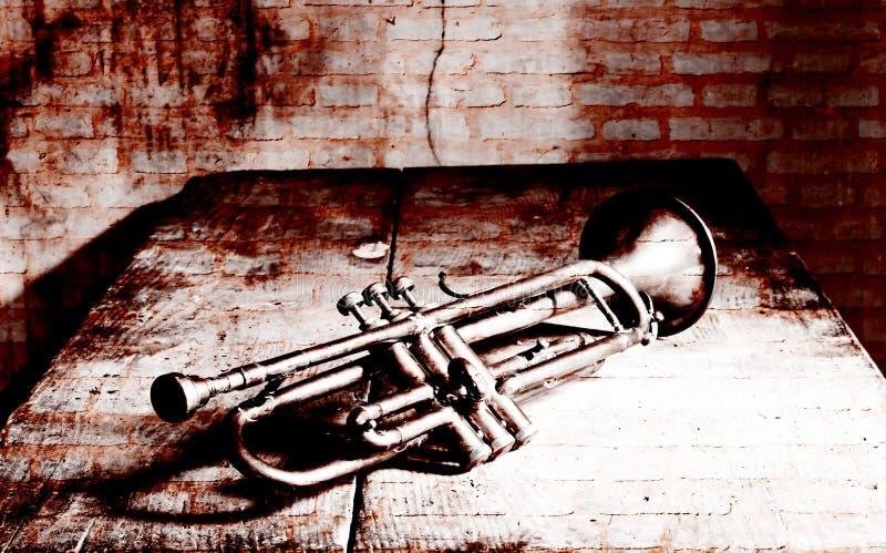 Une belle trompette antique de jazz des années 1920 et d'un mur de briques illustration stock