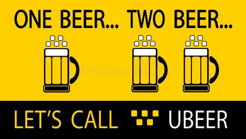 Une bière Bière deux Appelons Ubeer image libre de droits