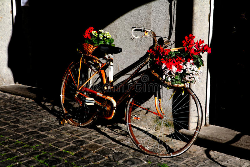 Une bicyclette fleurie photographie stock libre de droits